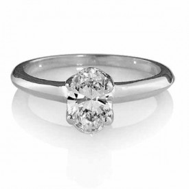 18 Carat White gold ONE Carat Oval shaped Diamond Ring (G Colour, VS1 Clarity)