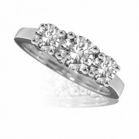 Platinum Diamond 3 stone Ring one carat centre, flanked by two half carat(G Colour, VS1 Clarity)