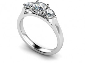 Three stone 18 Carat White gold graduated Diamond Ring