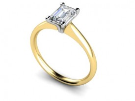 18 Carat Yellow and White gold 6mm x 4mm Emerald cut Solitaire Ring