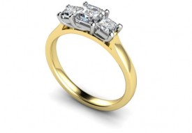 18 Carat Yellow and White gold 3 stone Princess cut Diamond Ring
