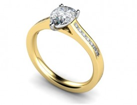18 Carat Yellow and White gold 7mm x 5mm/6mm x 4mm Pear shaped Diamond and Diamond shoulders