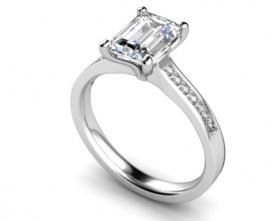 18 Carat White gold 7mm x 5mm Emerald cut Diamond (Diamond shoulders)