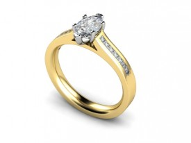 18 Carat Yellow and White gold 7mm x 5mm/6mm x 4mm Marquise (6 claw set) and Diamond shoulder Ring