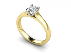 18 Carat Yellow and White gold setting 0.25/0.50 Carat Princess cut Diamond Ring