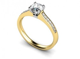 18 Carat Yellow and White gold 50 point Diamond and Diamond shoulders