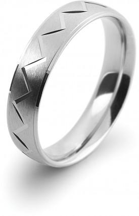 18 Carat 5mm Wide White gold Satin/Diamond cut Zig Zag Court Wedding Ring