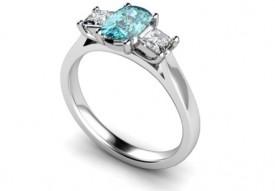 Aquamarine and Princess cut Diamond Ring