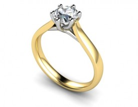 18 Carat Yellow and White gold 0.20…0.25…0.30…0.50…0.75…ONE Carat Brilliant cut Solitaire Ring.