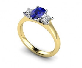 18 Carat Yellow and White gold 7mm x 5mm Kanchan. Blue Sapphire and Princess cut Diamond Ring..