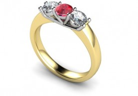 18 Carat Yellow and White gold Ruby and Diamond three stone Ring