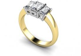 18 Carat Yellow and White gold 3 stone Emerald cut Diamond Ring