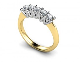 18 Carat Yellow and White gold 5 Stone Zig Zag side design Ring