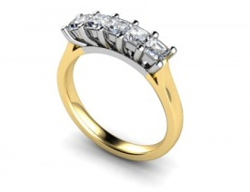 18 Carat Yellow and White gold 5 stone Princess cut Diamond Ring