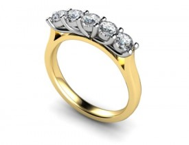 18 Carat Yellow and White gold Claw set 5 Stone Diamond Ring (ONE CARAT WEIGHT)