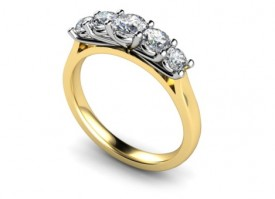 18 Carat Yellow and White gold Graduated Brilliant cut Diamond Ring