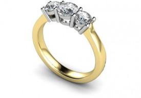 18 Carat Yellow and White gold Three stone Ring