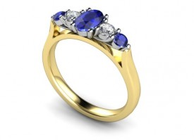 18 Carat Yellow and White gold oval Kanchan Sapphire and Brilliant cut Diamond Ring