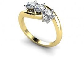 18 Carat yellow and white gold Three stone Diamond cross over Ring