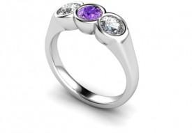 18 Carat White bezel set Amethyst and Diamond Ring