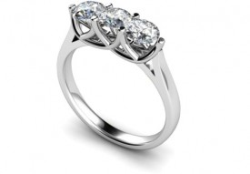 18 Carat White gold 3 stone (three 25 point D Colour VVS1 Clarity)