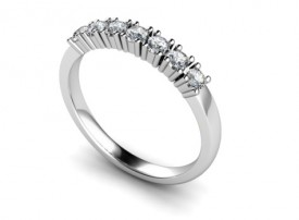 18 Carat White gold Seven stone Brilliant cut Diamond Half Eternity Ring..