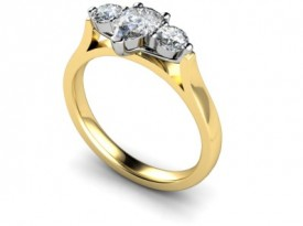 18 Carat Yellow and White gold Pear shaped Diamond, flanked by two Brilliant cut Diamonds