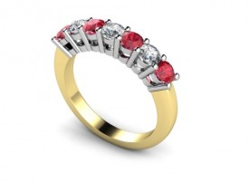 18 Carat Yellow and White gold Blood red Ruby and Brilliant cut Diamond Ring
