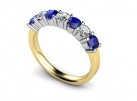 18 Carat Yellow and White gold Kanchan Sapphire and Brilliant cut Diamond Half Eternity Ring