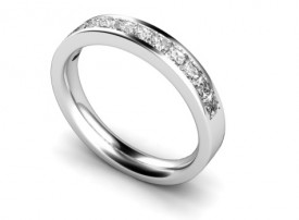 18 Carat White gold 12 Stone Princess cut Diamond Channel set Half Eternity Ring