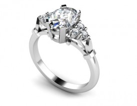 18 Carat White gold 6mm 4mm oval Diamond and Brilliant cut Diamond Cluster Ring