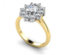 18 Carat Yellow and White gold Oval Diamond and Brilliant cut Ring…