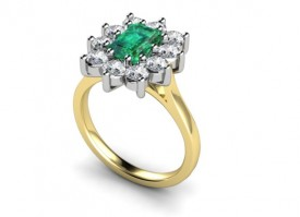 18 Carat Yellow and White Gold Emerald and Diamond Ring…