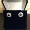 18 Carat White gold Ceylon and Diamond stud Earrings